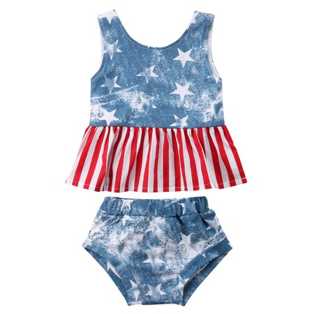 Infant Baby Girls Sleeveless USA Flag Pattern Tank Top With Short 2PCS 4th Of July - 50s Day Outfit Ideas