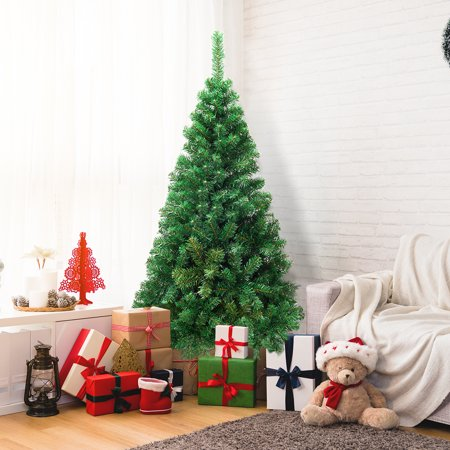 Gymax 5'/6'/7'/8' Green Holiday Season Artificial PVC Christmas Tree Indoor Outdoor Stand ()