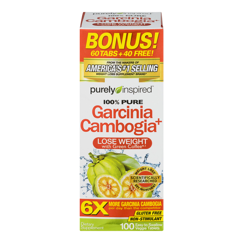 Purely Inspired Garcinia Cambogia Non Stimulant Weight Loss Pills Bonus Pack, Veggie Tablets, 100 Ct