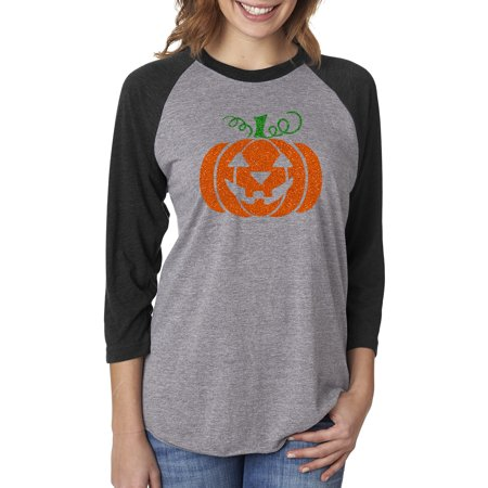 Glitter Jack O' Lantern Pumpkin Halloween Costume Womens Raglan Sleeve T-Shirt](Disneyland Halloween Prices)