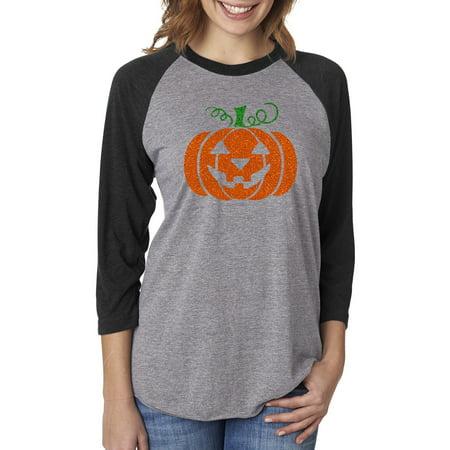 Glitter Jack O' Lantern Pumpkin Halloween Costume Womens Raglan Sleeve T-Shirt](Kmart Womens Halloween Shirts)