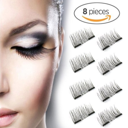 a2005cd7077 Asavea New Dual Magnetic False Eyelashes - 2 Pairs (8 Pieces) Ultra Thin 3D  Fiber Reusable Best Fake Lashes Extension for Natural, Perfect for Deep Set  Eyes ...