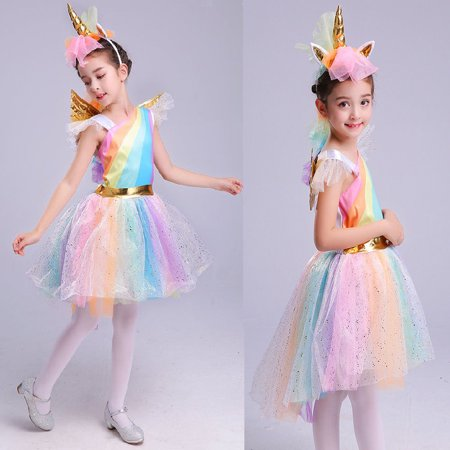 Girls Deluxe Rainbow Unicorn Costume Unique Halloween Everyday Cosplay Dress-Up