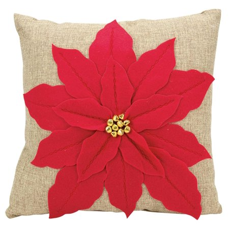Nourison Home For The Holiday Poinsettia Red Throw Pillow Walmart Com