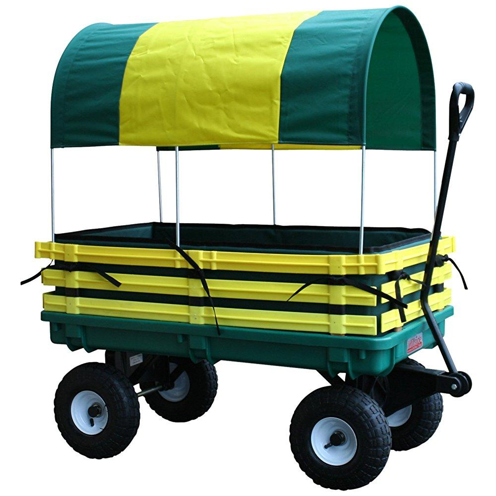 Millside Industries JP-102 20 inch x 38 inch Pad and Covered Wagon - Green and Yellow