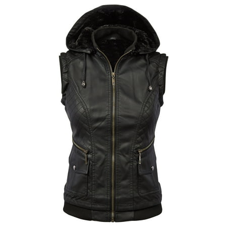 MBJ Womens Faux Leather Fleece Zip Up Vest Jacket with Removable Hoodie - Woody Vest