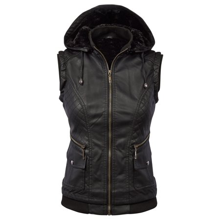 MBJ Womens Faux Leather Fleece Zip Up Vest Jacket with Removable Hoodie