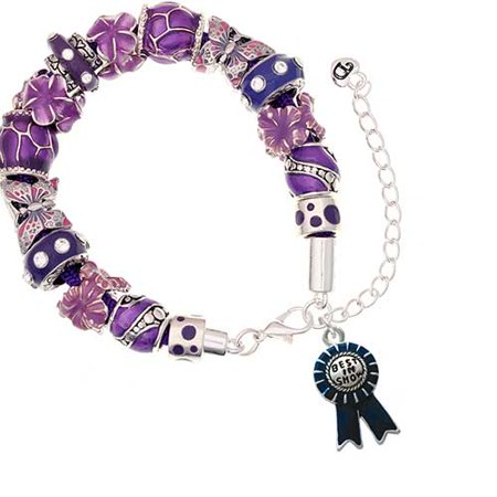 Silvertone Best in Show Blue Ribbon Purple Butterfly Bead