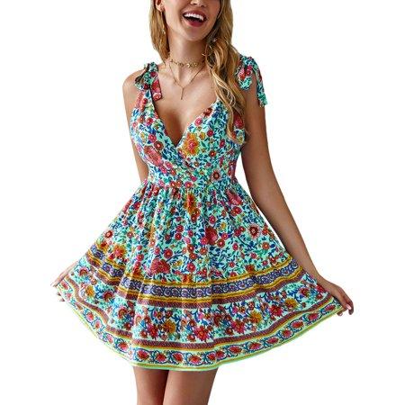 Women's Summer Wrap V Neck Bohemian Floral Print Beach Mini Dress Chiffon Sleeveless Spaghetti Strap Casual Holiday Sundress](Chiffon Bohemian Dress)