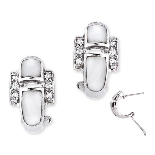 CZ Collections White Mother-of-Pearl Diamond Sterling Silver Earrings