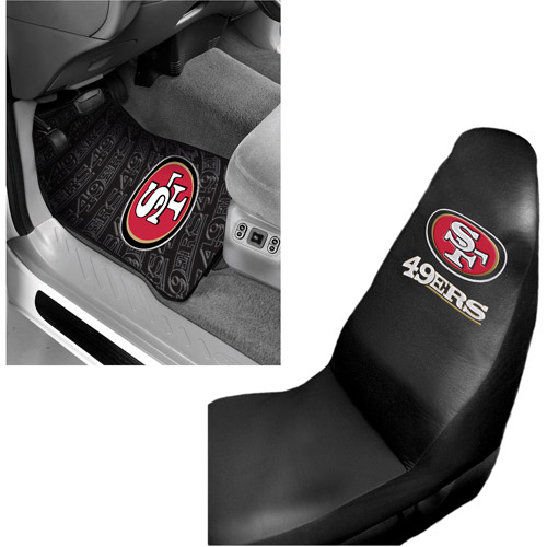 NFL San Francisco 49ers 2 pc Front Floor Mats & Car Seat Cover Bundle