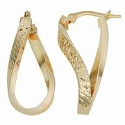 Fremada  10k Yellow Gold Diamond-cut Twist Oval Hoop Earrings