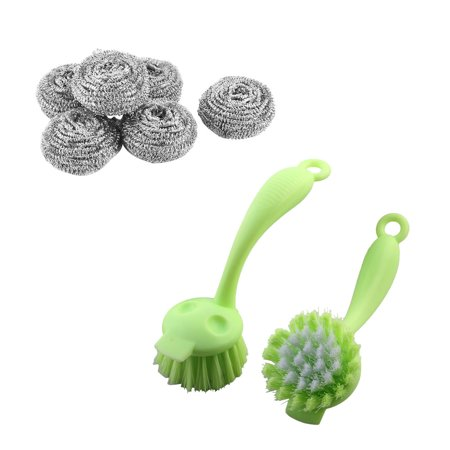 Kitchen Pot Pan 6pcs Stainless Steel Wire Pad Scrubber 4cm Dia and 2pcs Plastic Grill Bowl Clean Scrub Brush Light Green