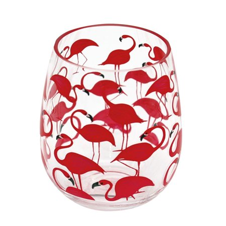Dennis East 11527 - Flamingo Shatterproof Stemless Wine Glass Size: 18oz Barware Cups and Glasses ()