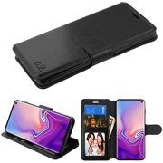 "Samsung Galaxy S10 (6.1 inch) Phone Case Leather Flip Wallet Case Cover Stand Pouch Book Magnetic Buckle with Credit Card Slots Holder Stand BLACK Phone Case Cover for Samsung Galaxy S10 (6.1"")"