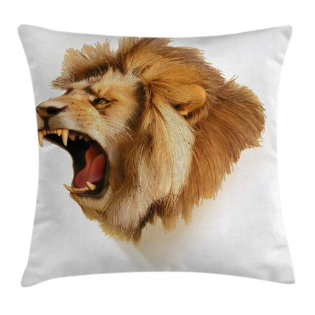 Majestic Square Two Light - King Throw Pillow Cushion Cover, Roaring Wild Lion Head Safari African Animal Majestic Cartoon Like Print Artwork, Decorative Square Accent Pillow Case, 16 X 16 Inches, Light Brown, by Ambesonne