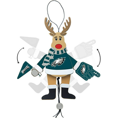 Topperscot by Boelter Brands NFL Wooden Cheering Reindeer Ornament, Philadelphia Eagles