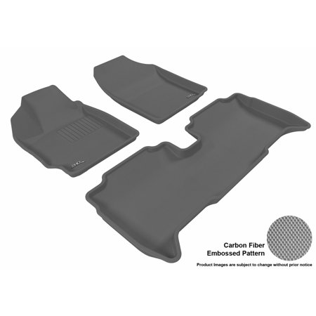 3D MAXpider 2008-2012 Scion xD Front & Second Row Set All Weather Floor Liners in Gray with Carbon Fiber - Gray Carbon