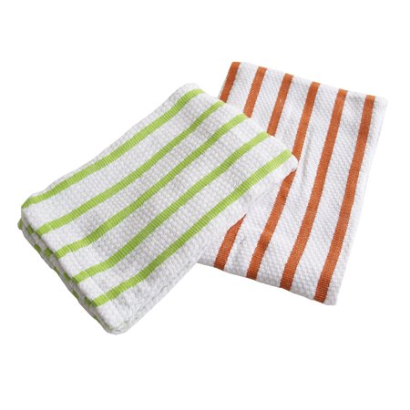 Gourmet Classics Green and Orange Striped Cotton Kitchen Towel, Set of