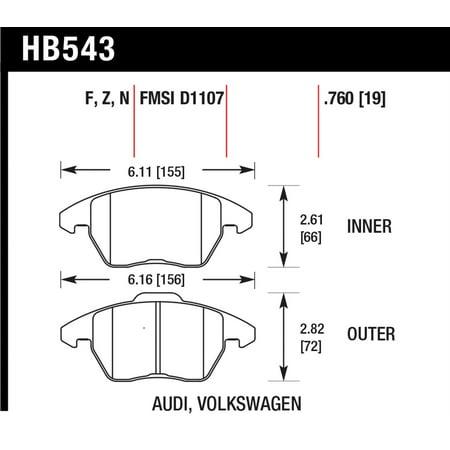 Hawk Audi A3/TT / VW EOS / Golf / Jetta / Passat / Rabbit DTC-60 Front Race Brake