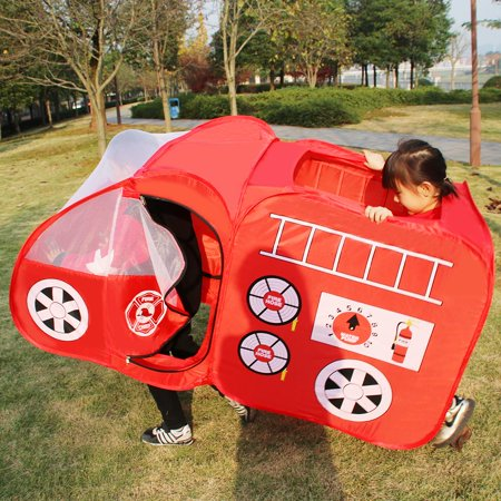 Ktaxon Fire Engine Truck Pop Up Play Tent Foldable Indoor/Outdoor Playhouse for Kids