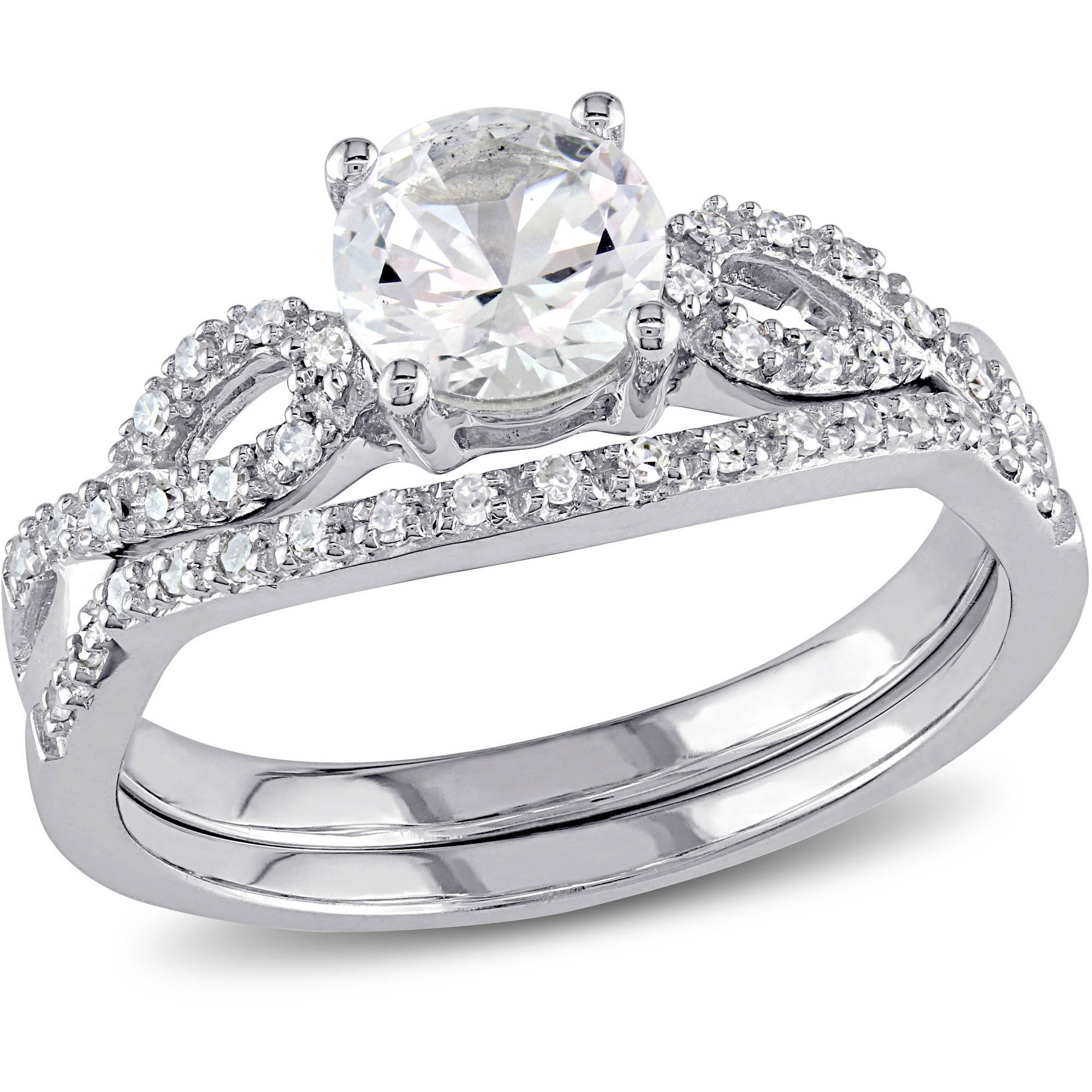 Miabella 1 Carat T.G.W. Created White Sapphire and 1/6 Carat T.W. Diamond 10kt White Gold Infinity Bridal Set