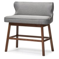Baxton Studio Gradisca Gray Fabric Upholstered Bar Bench Banquette