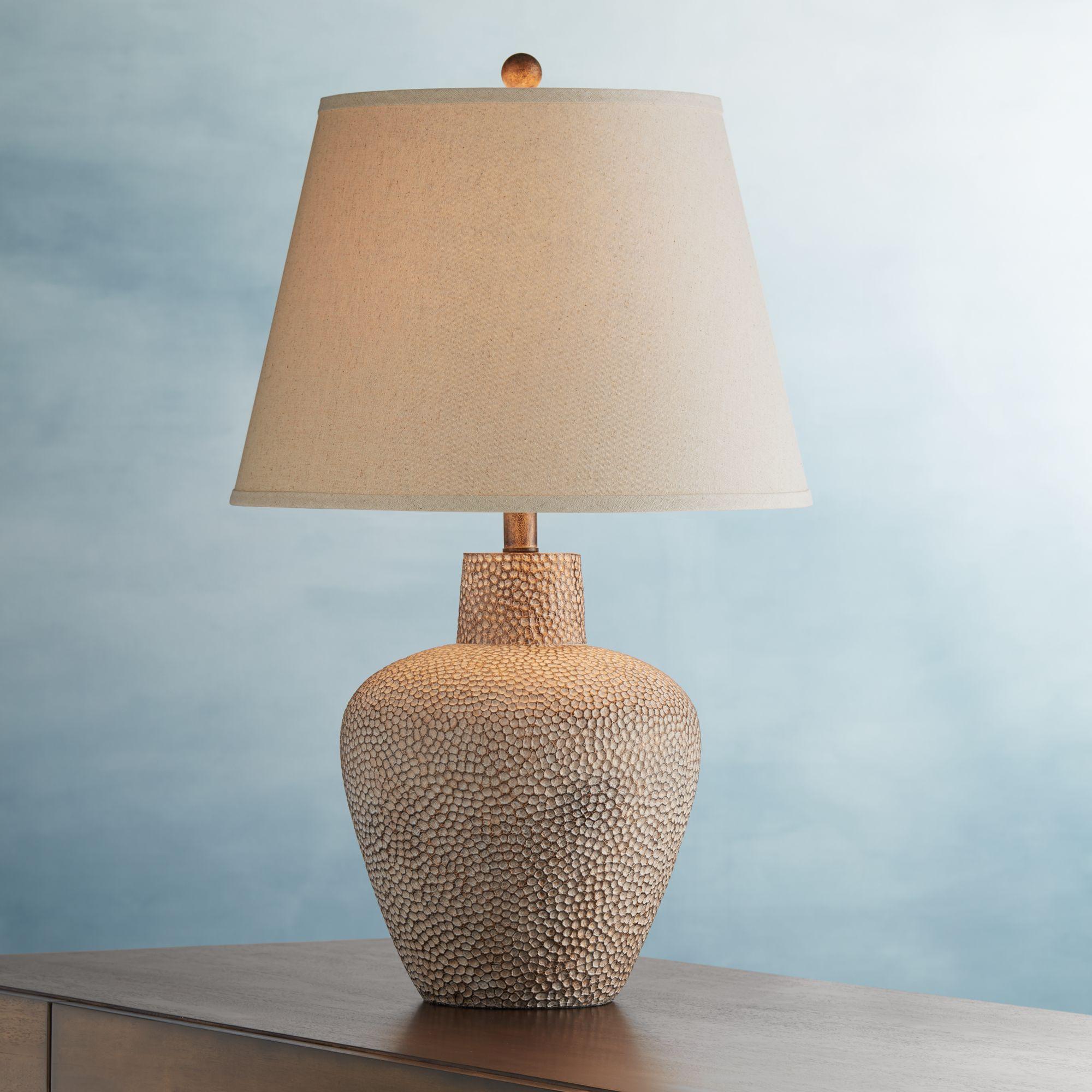 360 Lighting Rustic Table Lamp Hammered Metal Pot Brown Leaf Off