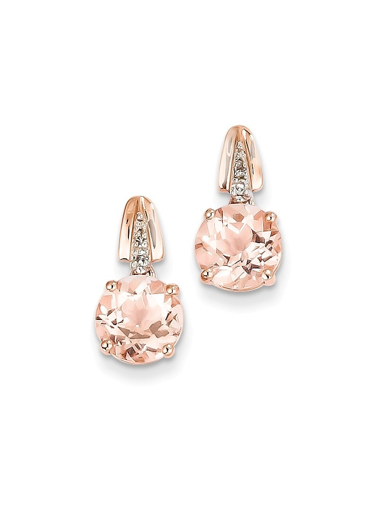 ICE CARATS 14kt Rose Gold Diamond Pink Morganite Round Post Stud Drop Dangle Chandelier Earrings Fine Jewelry Ideal... by IceCarats Designer Jewelry Gift USA