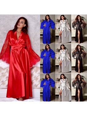 a51e55402e Product Image Womens Silk Satin Deep V Bathrobe Pajamas Robe Lingerie  Sleepwear Nightwear