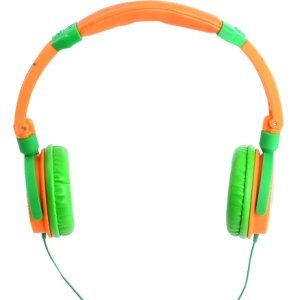 Crazy Series Lightweight Articulated Headphones Works w/iPhone w/inline Mic Orange & Green