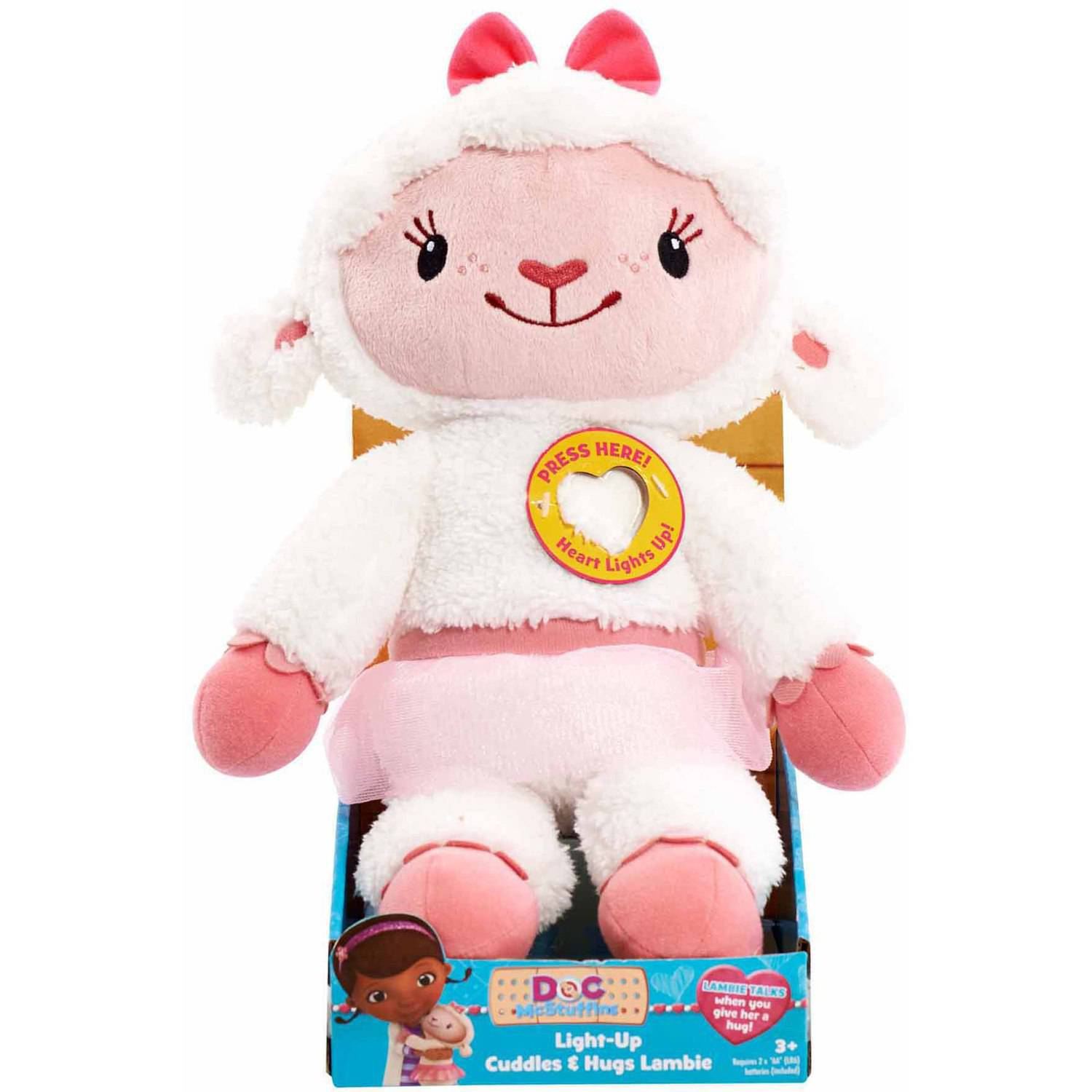Doc Mcstuffins Cuddles and Hugs Light-Up Plush, Lambie