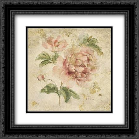 Coral Rose on Antique Linen Light Gold 2x Matted 20x20 Black Ornate Framed Art Print by Blum, Cheri - Light Matted Print
