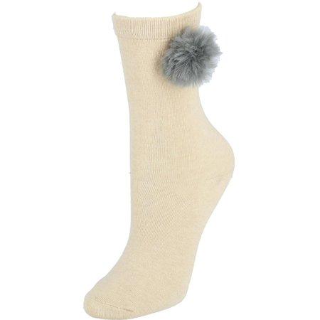 Women's Fur Pom Crew Socks