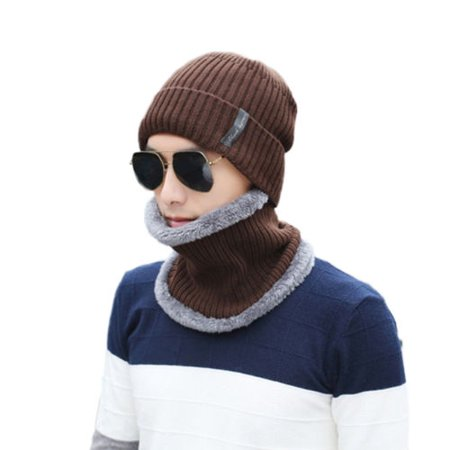 7897b2f3ede Men Women Beanie Hat Scarf Set Fleece Lining Knit Hat Warm Thick Winter Ski  Cap - Walmart.com