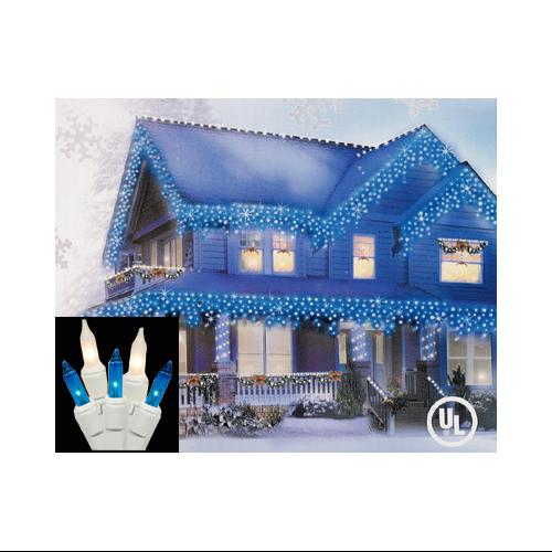 Set of 100 Blue and Clear Frosted Icicle Christmas Lights - White Wire
