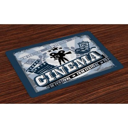 Movie Theater Placemats Set of 4 Vintage Cinema Poster Design with Grunge Effect and Old Fashioned Icons, Washable Fabric Place Mats for Dining Room Kitchen Table Decor,Blue Black Grey, by Ambesonne ()
