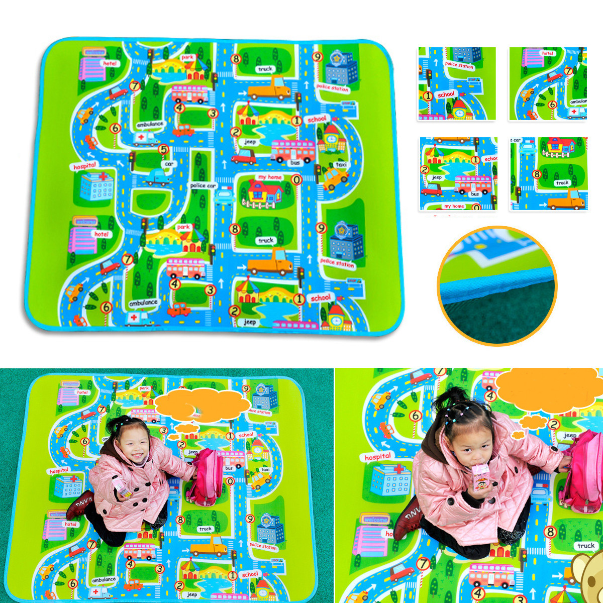 Infant Baby Kids Crawl Playing Fun Car City Traffic Game Play Mat Rug Carpet Toy