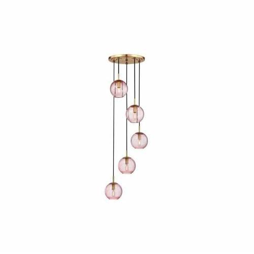 Hudson Valley Rousseau 5 Light Pendant with Pink Glass, Aged Brass - 2035-AGB-PK