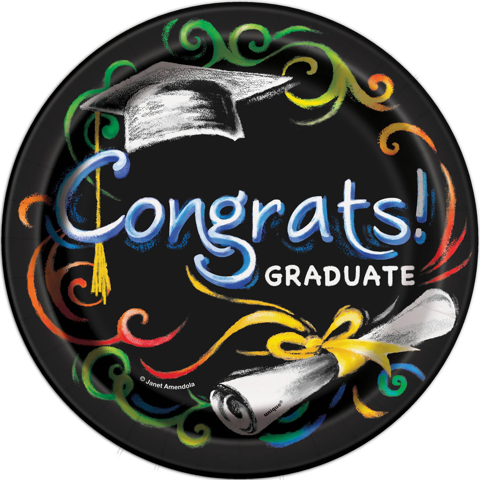 Chalkboard Graduation Paper Dessert Plates, 7in, 8ct
