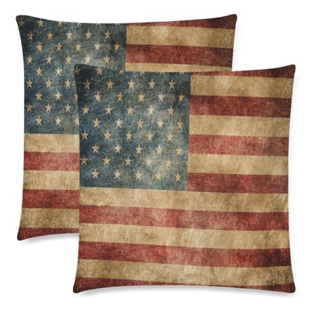 YKCG Vintage USA American Flag Pillowcase Pillow Cushion Case Cover 18x18 Twin Sides, Retro Star Stripe American Patriotic Polyester Zippered Throw Pillow Case Decorative, Set of 2](Patriotic Pillows)