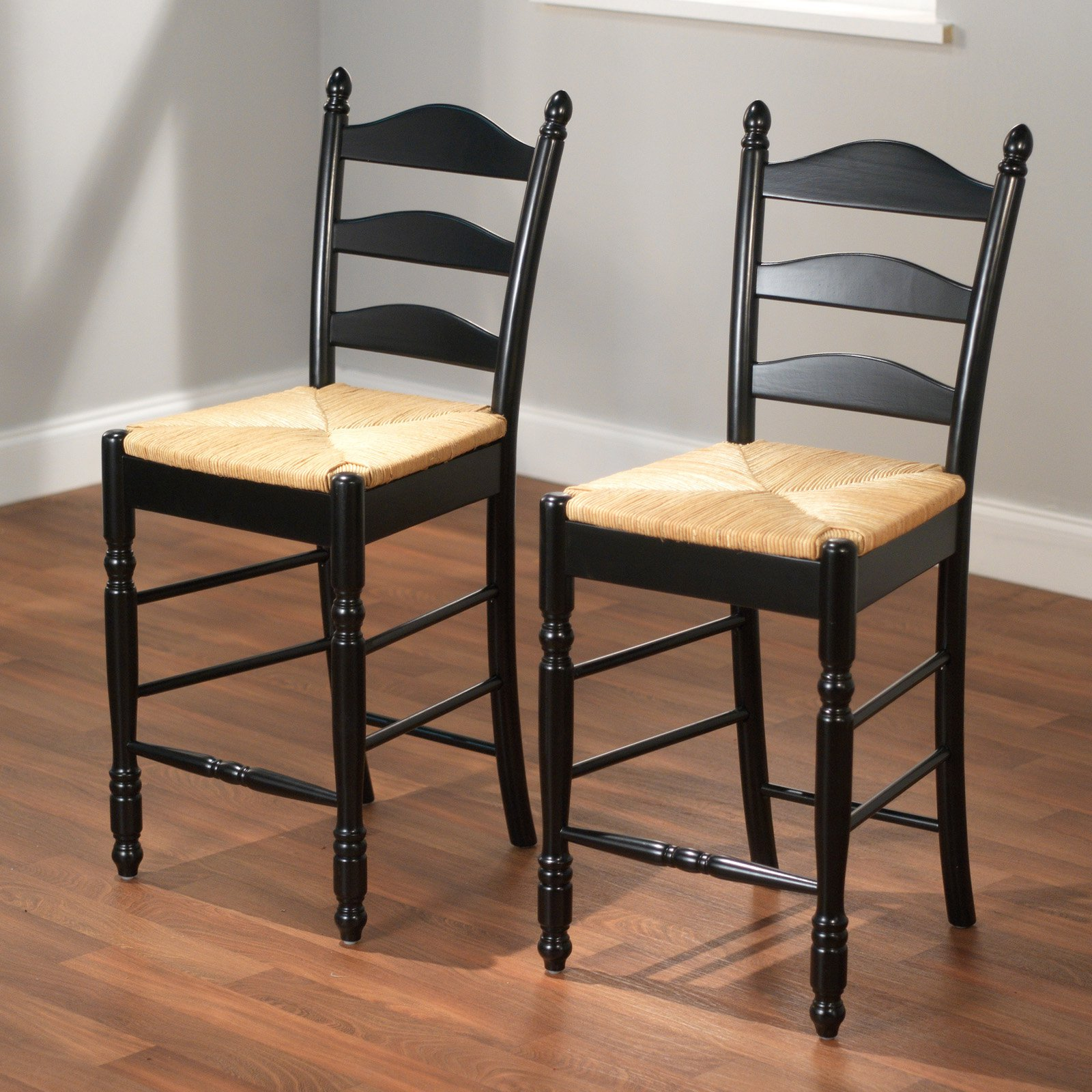 "Ladder Back Rush Seat Counter Stools 24"", Set of 2, Multiple Colors"