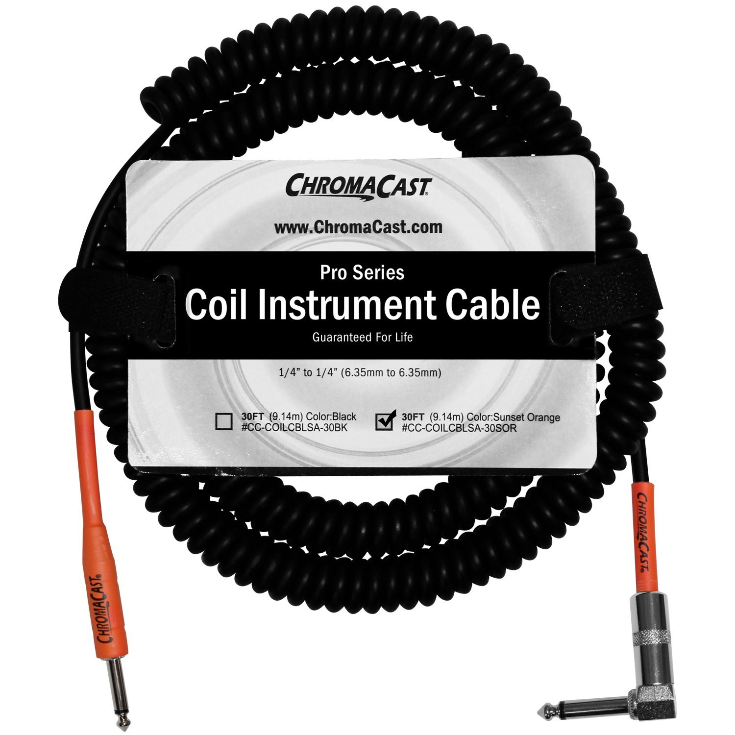 "ChromaCast Pro Series Coil Instrument Cable 30 Feet, Orange, 1 4"" Straight- 1... by ChromaCast"