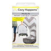 Itzy Ritzy Cozy Happens™ Infant Car Seat Canopy Muslin Collection, C. Grey Chevron