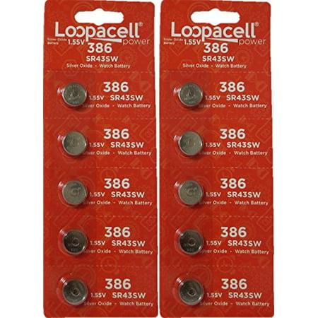 LOOPACELL 10 386/301 Watch Batteries SR43SW SR43W Sr43sw Watch Battery