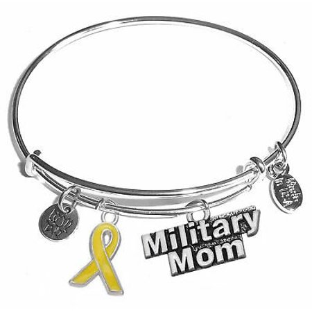 Hidden Hollow Beads Expandable Charm Bangle Bracelets – Military Mom Charm Bracelet](Mom Bangle Bracelet)