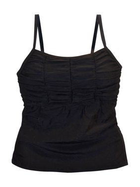 Simply Fit Women's Plus Size Tankini Swimsuit Top Smocked 16-24