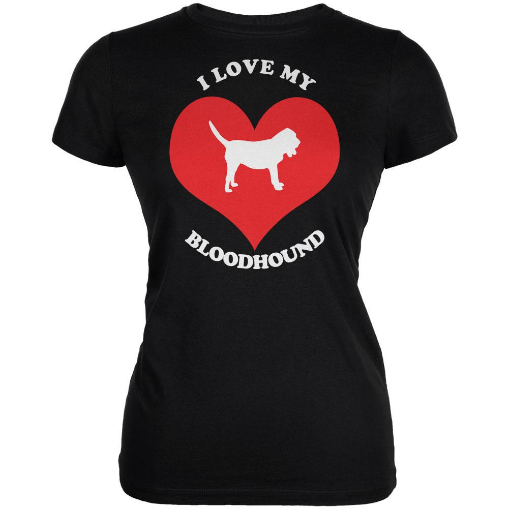 Valentines I Love My Bloodhound Black Juniors Soft T-Shirt