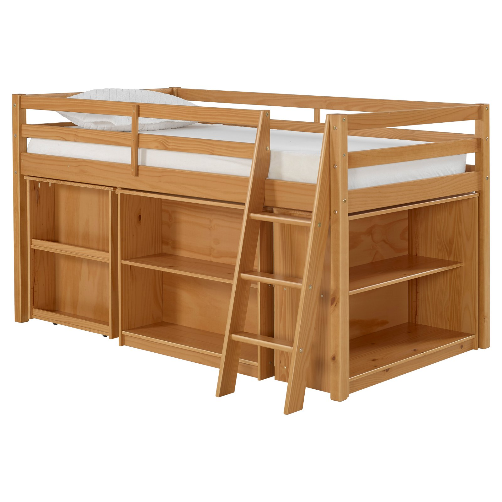 Roxy Junior Loft Bed with Storage Drawers, Bookshelf and Desk, Cinnamon