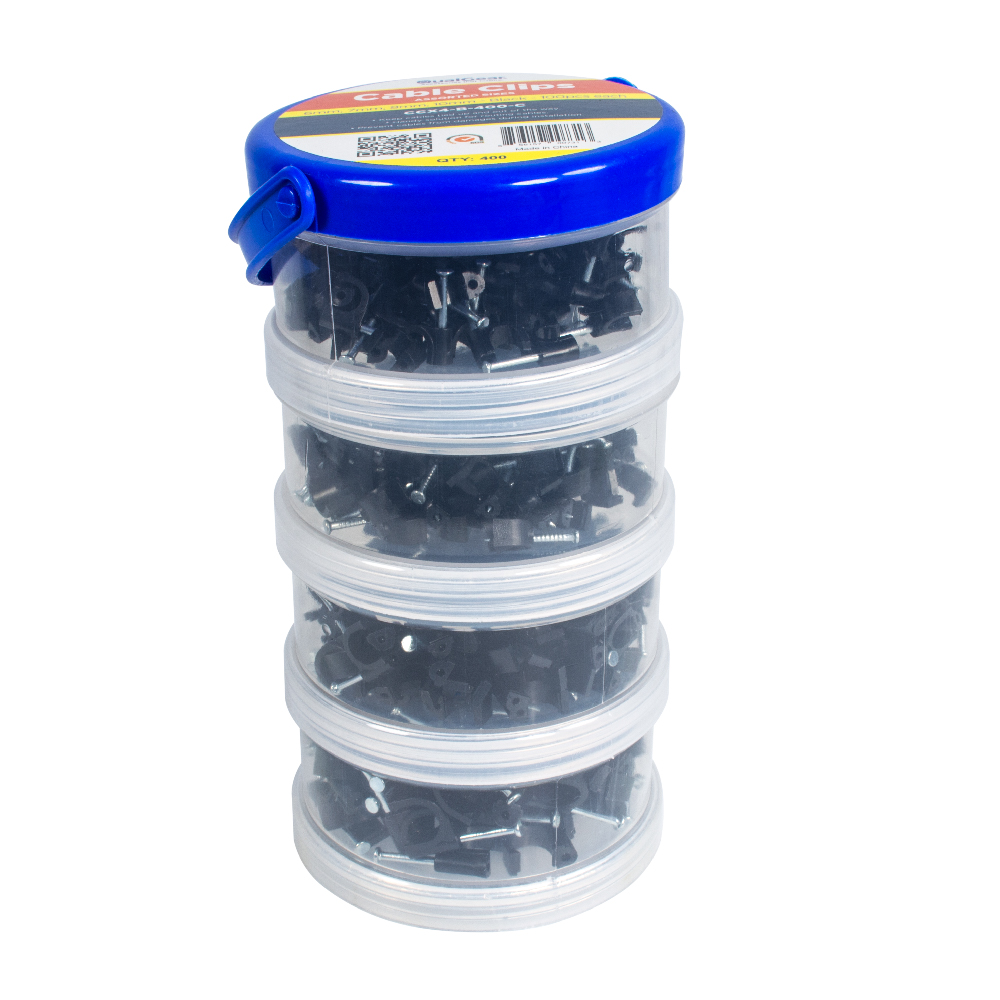 QualGear 6mm 7mm 8mm 10mm Cable Clips, Black, 400 Pack, Canister, CCX4-B-400-C